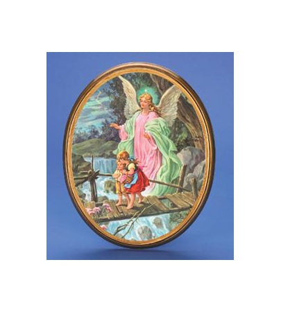 Oval Wooden Guardian Angel Plaque- 12-inch Boxed