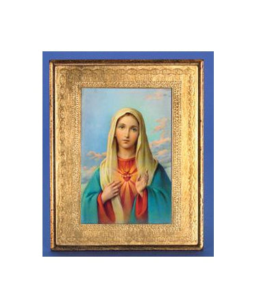 Gold Leaf Florentine Plaque with Immaculate Heart of Mary- 10-inch Made in Florence, Italy