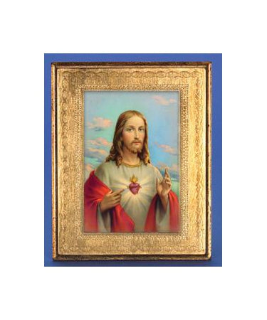 Gold Leaf Florentine Plaque with Sacred Heart- 10-inch Made in Florence, Italy