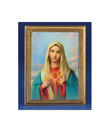 7 -1/2 Inch Gold Leaf Plaque- Immaculate Heart of Mary
