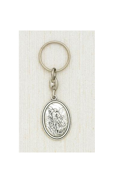 Silver Key Ring with image of Saint Michael Boxed