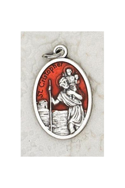 25-Pack - 3/4 inch Red Enamel Saint Christopher Pendant
