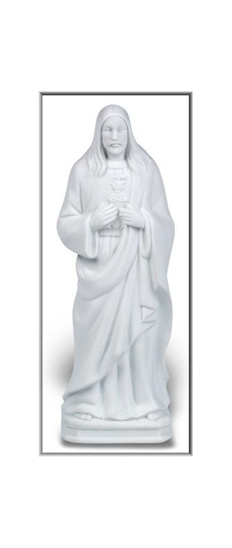 8-inch White Porceline Bisque Night Light Of Sacred Heart