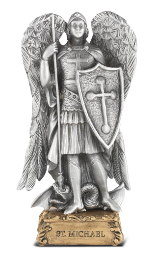 4-inch Pewter Statue Saint Michael Gift Boxed