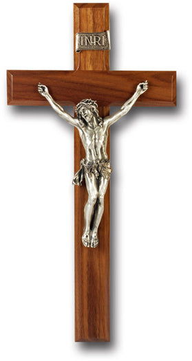12-inch Walnut Cross/Antique Silver Corpus