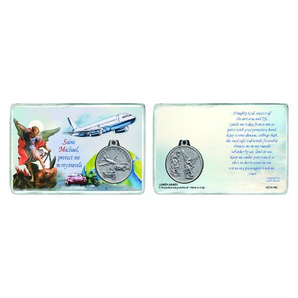 Saint Michael Laminated Prayer Card with Medal