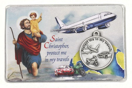 25-Pack - Laminated Traveler's Card with Saint Christopher and Saint Michael with Pendant and Traveler's Prayer