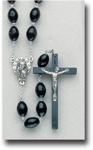 Black Plastic Quadruple Link Large Oval Bead Rosary