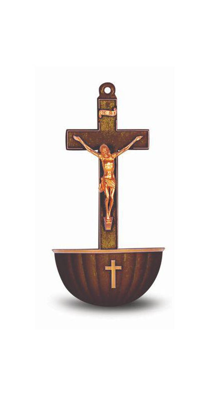Brown Crucifix Holy Water Font Min.6 6-Pack