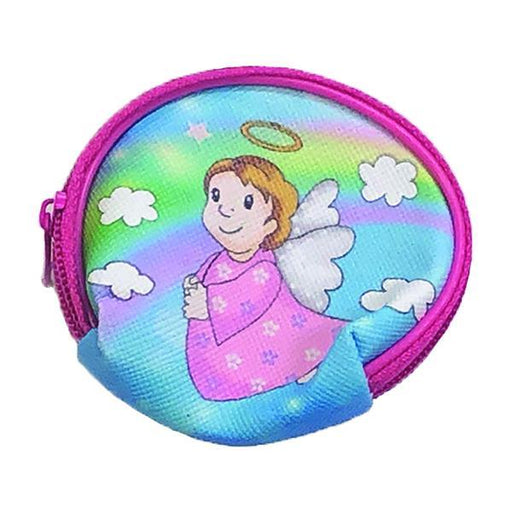 Girls Angel Vinyl Rosary Set - Pouch with Pink Imitation Pearl Rosary