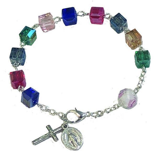 Multicolor cube shaped Bracelet with Lobster Claw Clasp