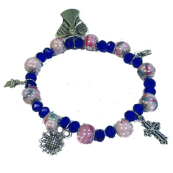 Rose Porcelain and Blue Crystal Stretch Bracelet