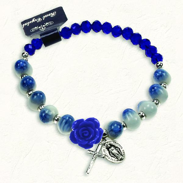 Blue and White Stretch Bracelet with Crystals and Blue Rose Shaped Resin Bead
