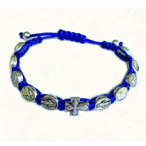 Blue Slip knot bracelet with Medals and Cross