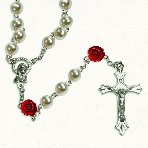 Imitation Pearl Rosary with Red Rose Resin Our Father Beads