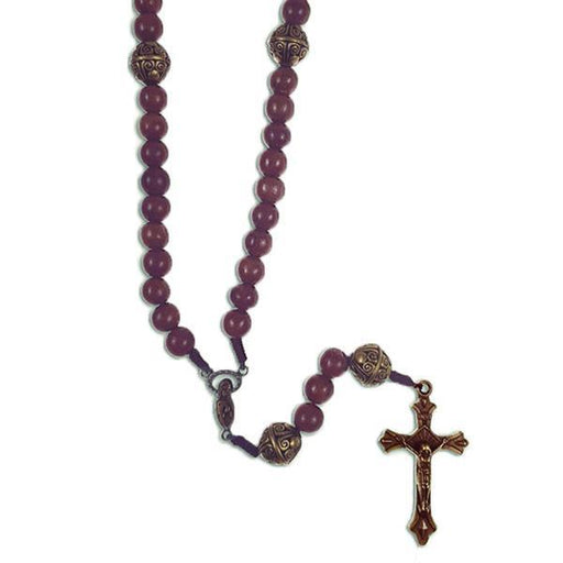 Corded Wooden Rosary with Brown Crucifix - Brown Beads with Brass Our Father Beads