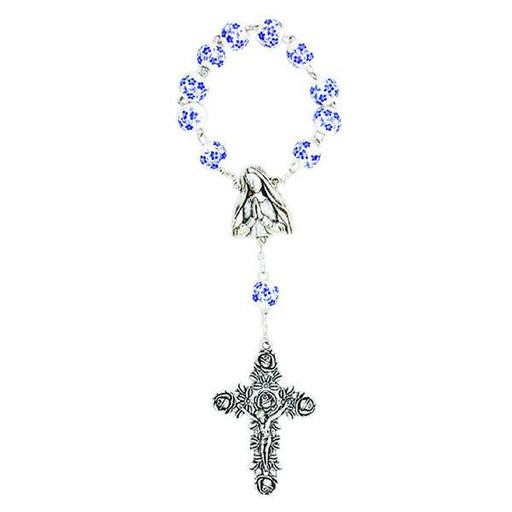Blue and White Porcelain Decade Rosary with silver-tone Crucifix