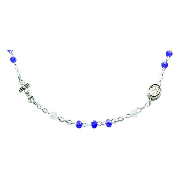 Genuine Crystal Necklace with Crucifix and Medals - Blue