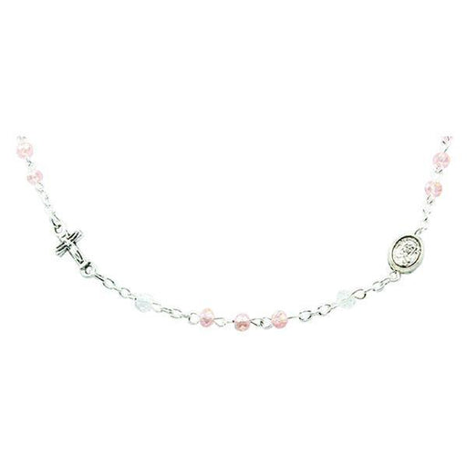 Genuine Crystal Necklace with Crucifix and Medals - Rose