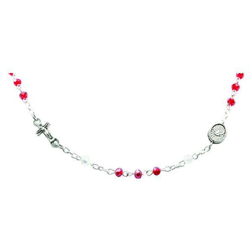 Genuine Crystal Necklace with Crucifix and Medals - Red