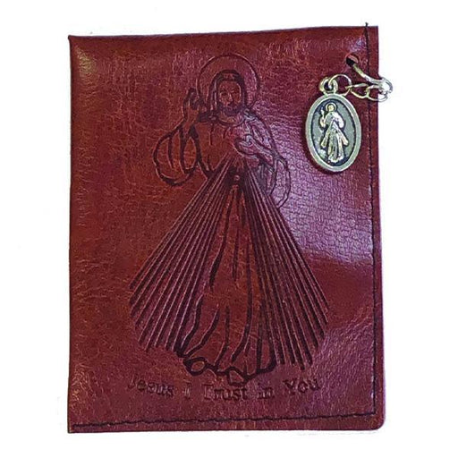 Brown Divine Mercy Leather Rosary Pouch with Divine Mercy Medal
