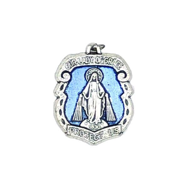 Silver-tone Miraculous Medal with Blue Enamel