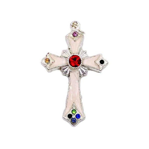 Silver-tone Pendant Cross with White Enamel and Multi-color Crystals