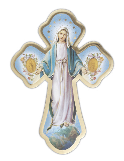 Our Lady Miraculous Medal Cross 5 1/2-inch