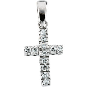 14K Gold Children's Cross With CZ And With 15-inch Chain