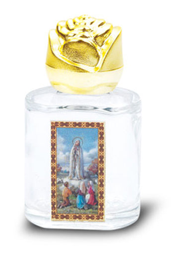 Ol Fatima Glass Holy Water Bottle with Bonella Art