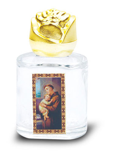 St Anthony Glass Holy Water Bottle with Bonella Art