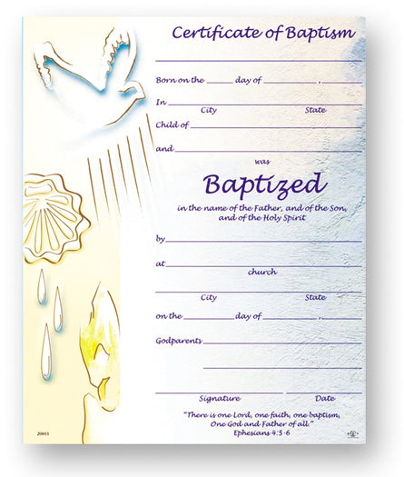 Certificate Of Baptism 8X10 50-Pack