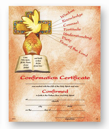 Cert Of Confirmation 8X10 50-Pack