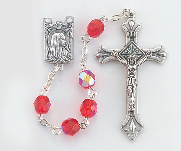 6MM Cut Glass Ruby Rosary