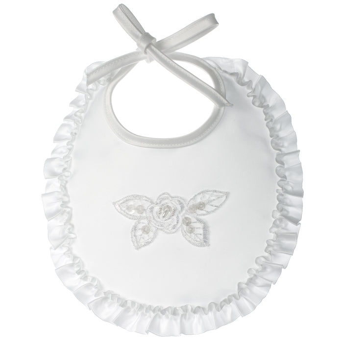 Baptism Satin with pearl and sequin appliqu