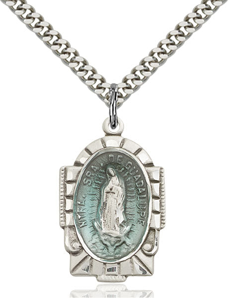 Sterling Silver Our Lady of Guadalupe Blue Epoxy Pendant