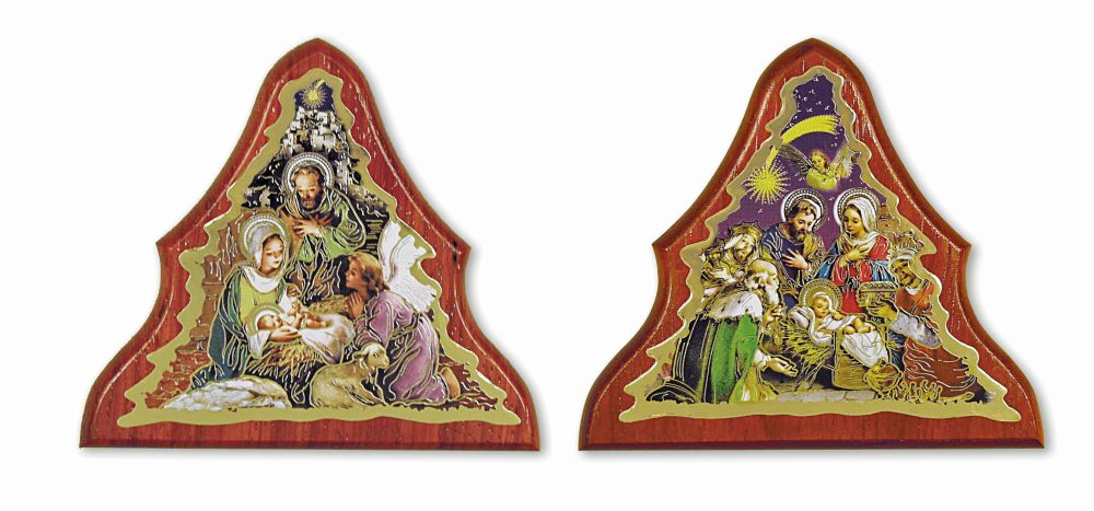 Nativity Wooden Tree Plaque