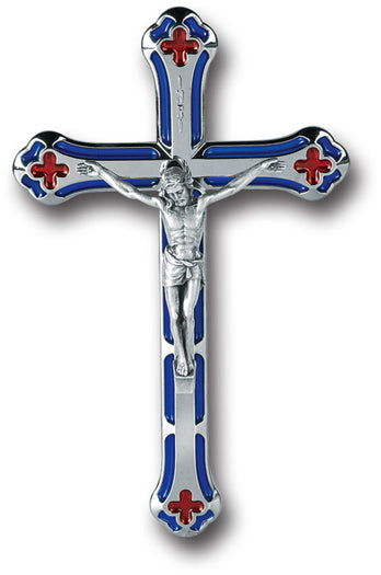 Metal Crucifix With Blue and Red Hi-Lights 5 1/4-inch