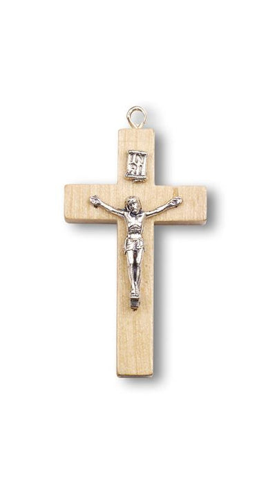1 5/8-inch Nat Wood Crucifix With Metal Corpus 25-Pack