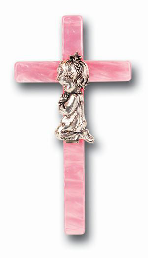 7-inch Pink Pearl Baby Praying Cross