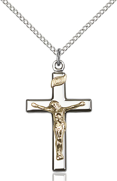 Two-Tone GF/SS Crucifix Necklace Set