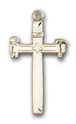 14K Gold Carpenter Cross Pendant - Engravable