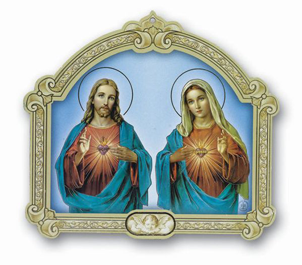 Cathedral 9-inch Plaque Of Sacred Heart and Immaculate Heart