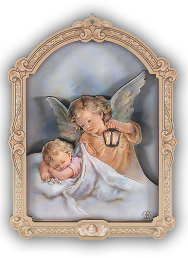 9-inch Plaque Guardian Angel With Lantern