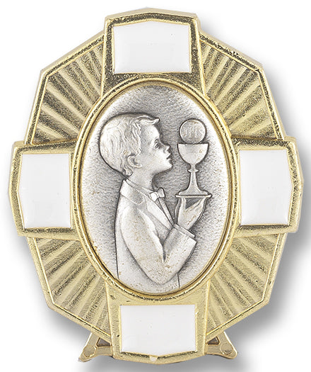 Gold Communion Plaque With Boy
