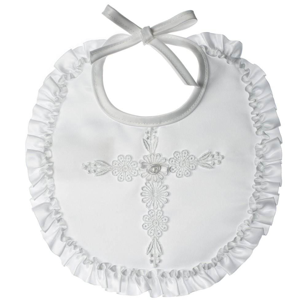 Baptism Satin bib with venise cross and lace trim