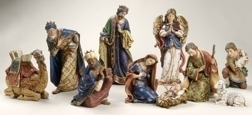 10Pc Saint 4-inch-19-inch Ornate Nativty