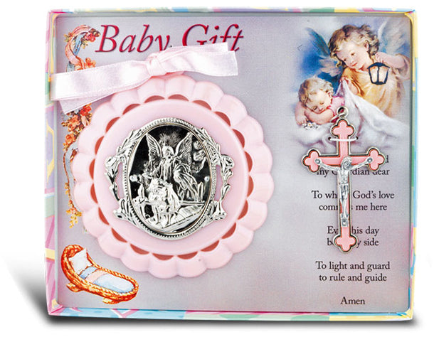 Pink Crib Medal With Crucifix