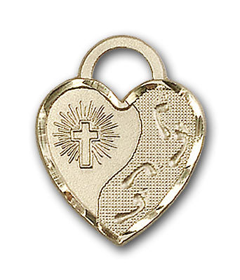 14K Gold Footprints Heart Pendant - Engravable