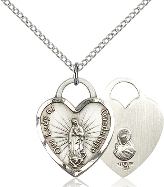 Sterling Silver Our Lady of Guadalupe Heart Necklace Set